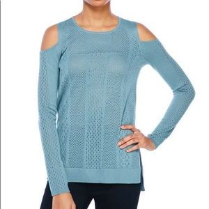 Jessica Simpson Pointelle Cold Shoulder Sweater